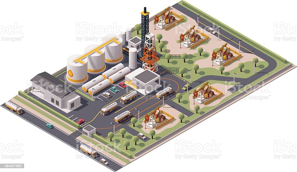 Vector isometric oil field icon vector art illustration
