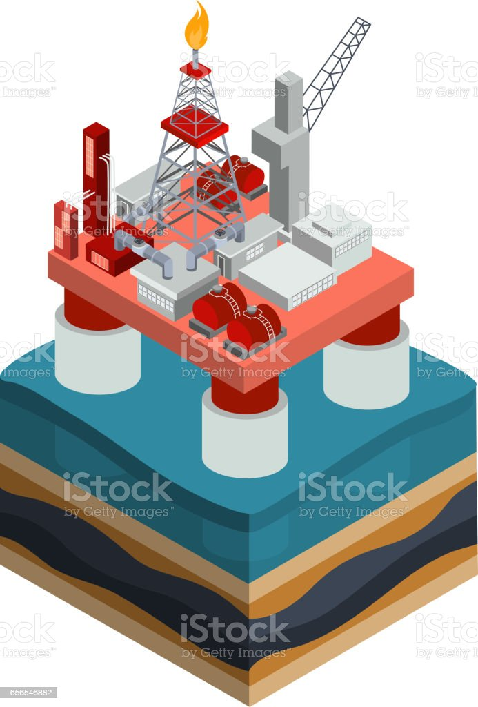 Vector isometric oil producing offshore platform vector art illustration