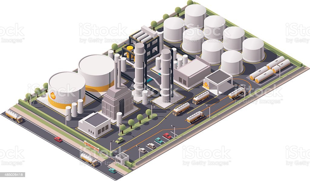 Vector isometric oil refinery vector art illustration