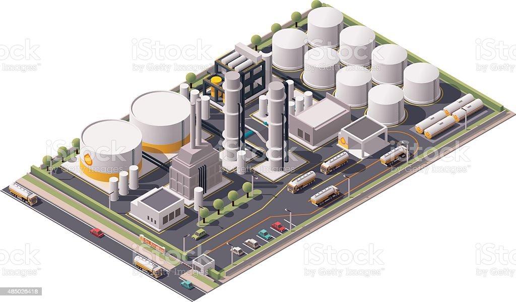 Vector isometric oil refinery vector art illustration