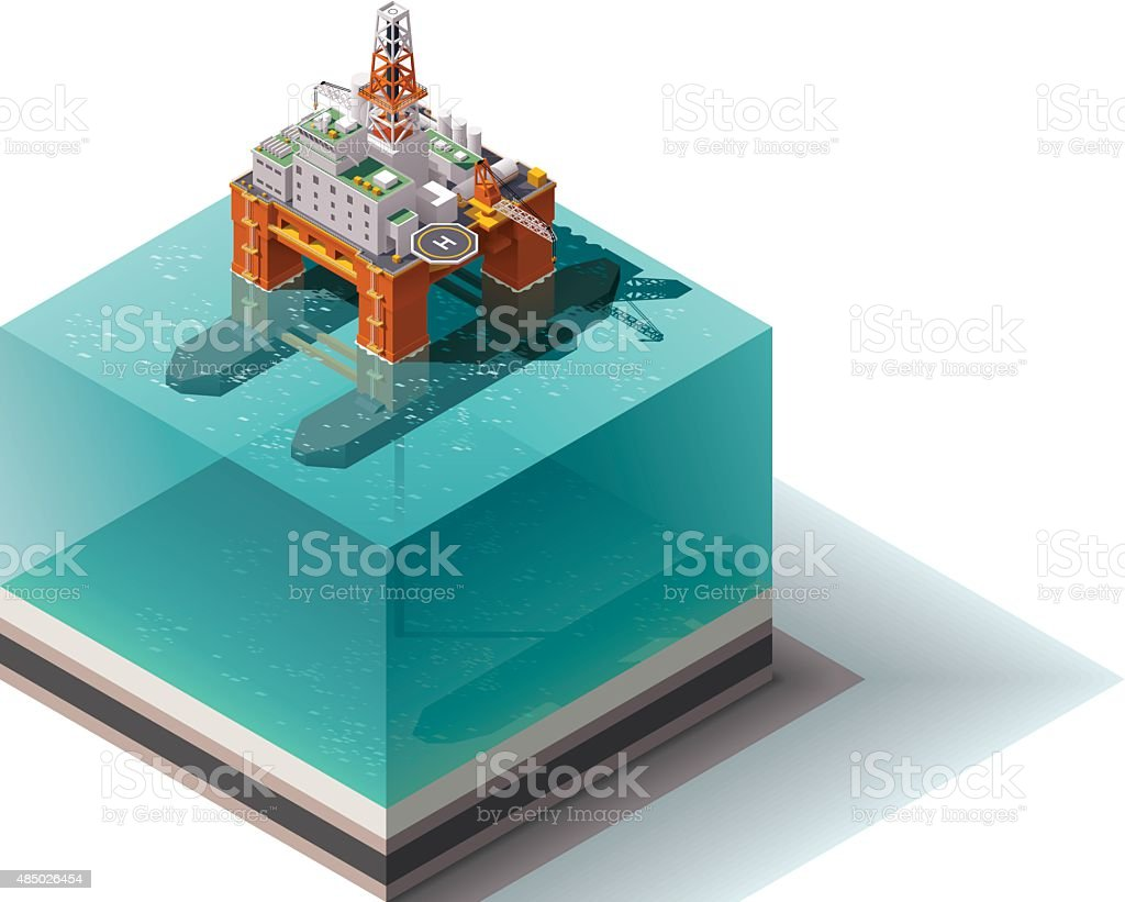 Vector isometric oil rig vector art illustration