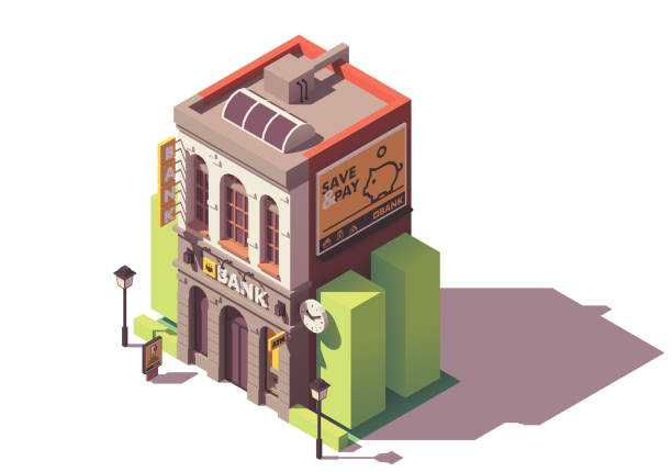 vector isometric old bank building - bank stock illustrations