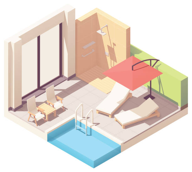 vector isometrische freibad-lounge - gartensofa stock-grafiken, -clipart, -cartoons und -symbole
