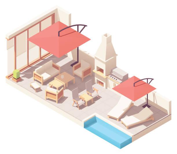 vektor isometrische patio mit grill und pool - gartensofa stock-grafiken, -clipart, -cartoons und -symbole