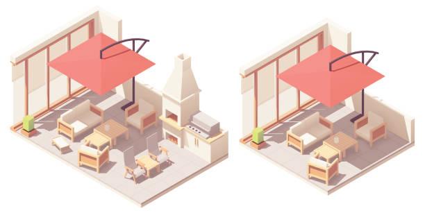 vektor isometrische terrasse mit barbecue-grill - gartensofa stock-grafiken, -clipart, -cartoons und -symbole