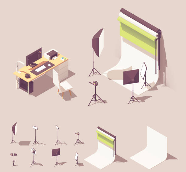 Vector isometric photo studio equipment Vector isometric photo studio equipment. Includes lighting equipment, white and color backdrops, camera, tripod, photographer desk with computer and photo printer studio stock illustrations