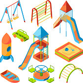 Vector isometric pictures of kids playground with different toys