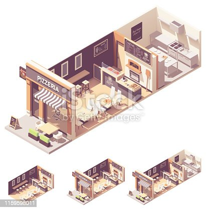 Vector isometric pizzeria or pizza and Italian food restaurant interior cross-section. Outdoor table under awnings, indoor hall with seats and counter, pizza wood fired oven, restaurant kitchen