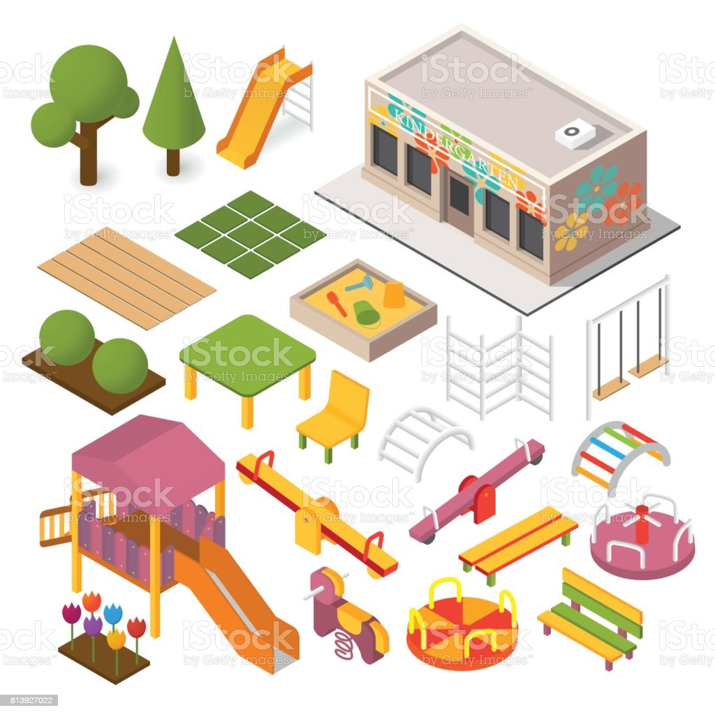 Vector isometric playground vector art illustration