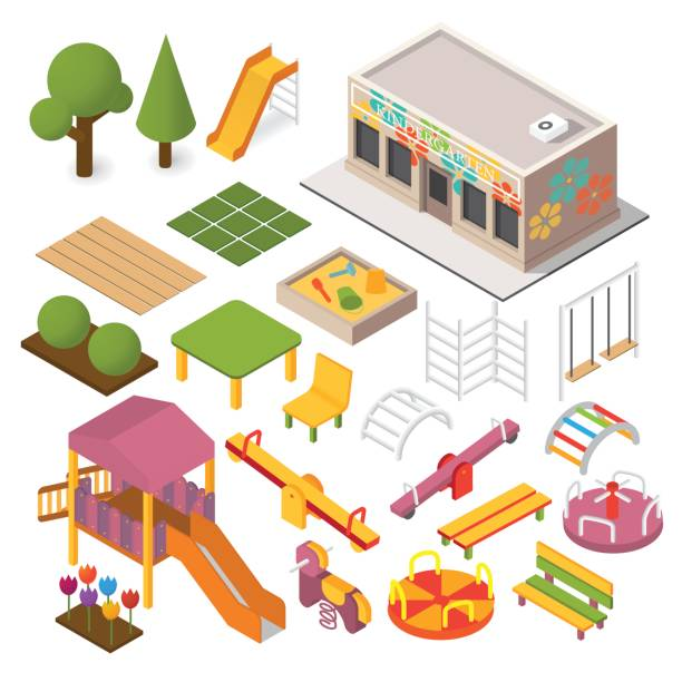 Vector isometric playground Vector isometric kindergarten preschool. Kids playground. 3d building icon set garden center stock illustrations