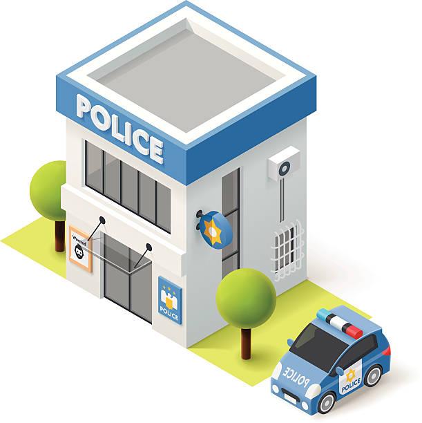 illustrations, cliparts, dessins animés et icônes de vector isométrique de la police - commissariat