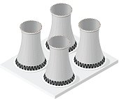 Vector isometric powerplant system, isolated. Four cooling towers, white background.