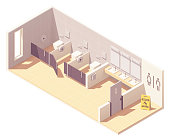 Vector isometric public female toilet room. Bowls in cubicles, sinks with mirrors and hand dryer