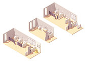 Vector isometric public pay toilet male, female facilities, accessible toilet with baby changing station