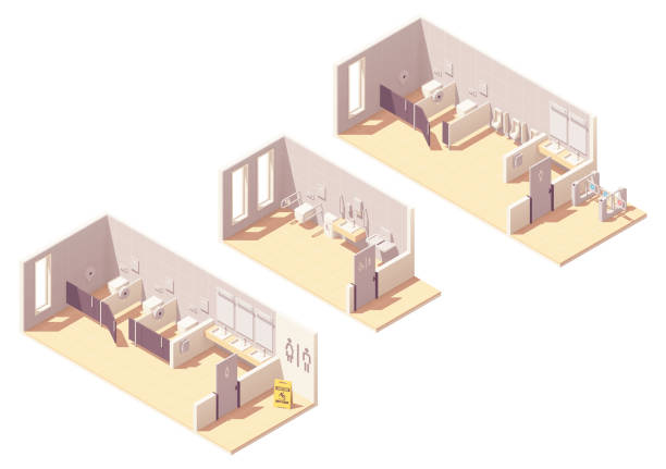 Vector isometric public pay toilet rooms vector art illustration