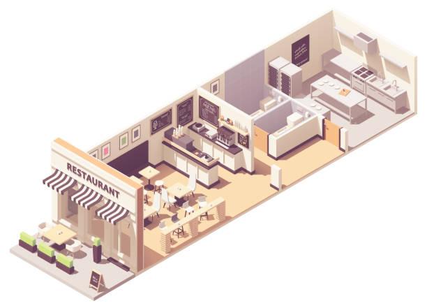 Vector isometric restaurant interior cross-section vector art illustration