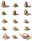 Vector isometric restaurant, cafe, pizzeria, beer bar, tapas bar, creperie, ice cream cafe, kebab, wine shop and other eateries collection