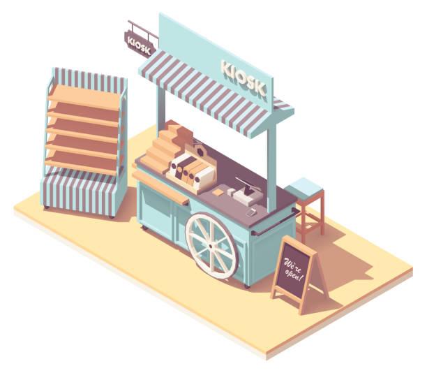 Vector isometric retail kiosk or cart stand vector art illustration