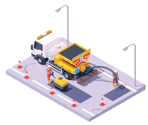 Vector isometric road potholes spray injection repair vector art illustration