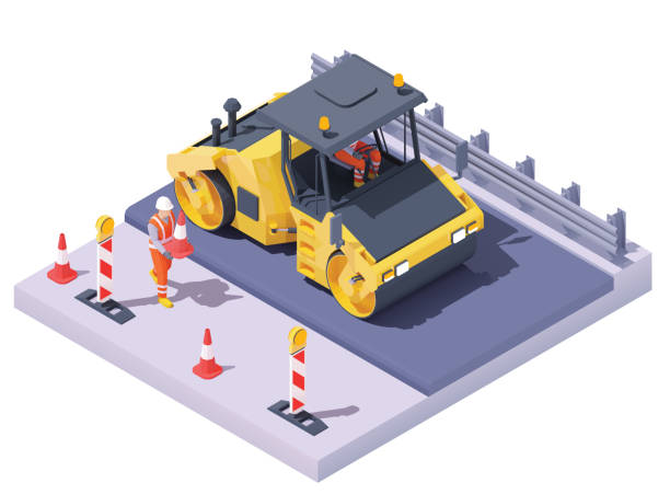 Vector isometric road roller at road construction site vector art illustration