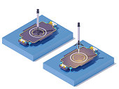 istock Vector isometric rocket landing on barge 1220133283