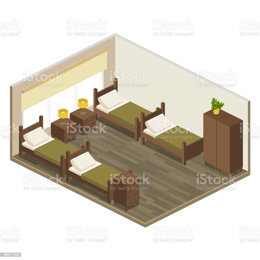 Vector Isometrique Chambre Chambre A Coucher Avec Lits Ensemble De