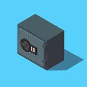 Vector isometric safe boxe icon.
