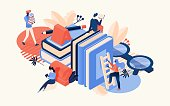 Vector isometric scene with large books, glasses, letter a and reading people. Drawn with bright orange and blue colors educative isolated on background concept illustration.