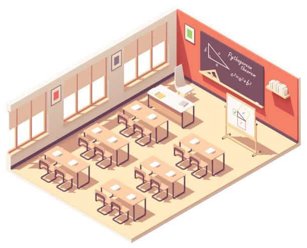 Vector isometric school mathematics classroom vector art illustration