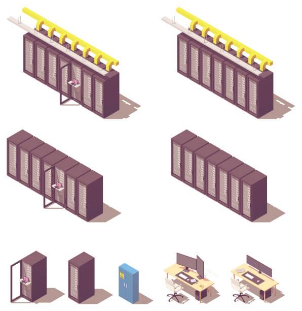 vector isometric server equipment - computer server room stock illustrations