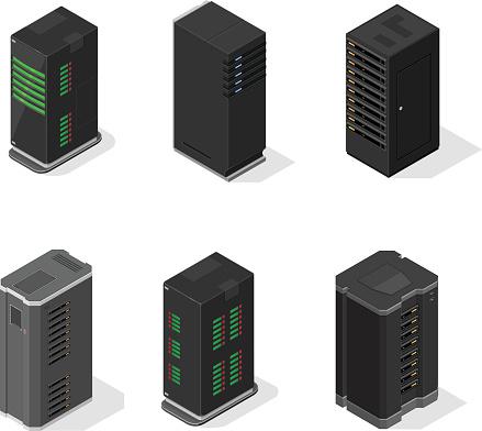 Vector Isometric Server Icon Set.