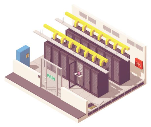 vector isometric server room - computer server room stock illustrations