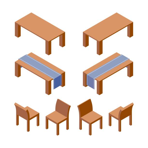 ilustrações de stock, clip art, desenhos animados e ícones de vector isometric set of furniture as tables decorated with runner and wooden chairs. 3d collection good for interior design and room organization. - top view, wood table, empty