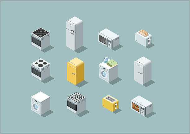 vector isometric set of household appliances icon. - haushaltsmaschine stock-grafiken, -clipart, -cartoons und -symbole