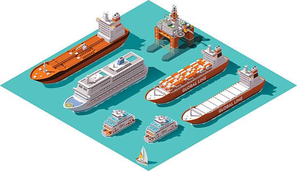 wektor isometric statków i platformy wiertniczej - statek stock illustrations