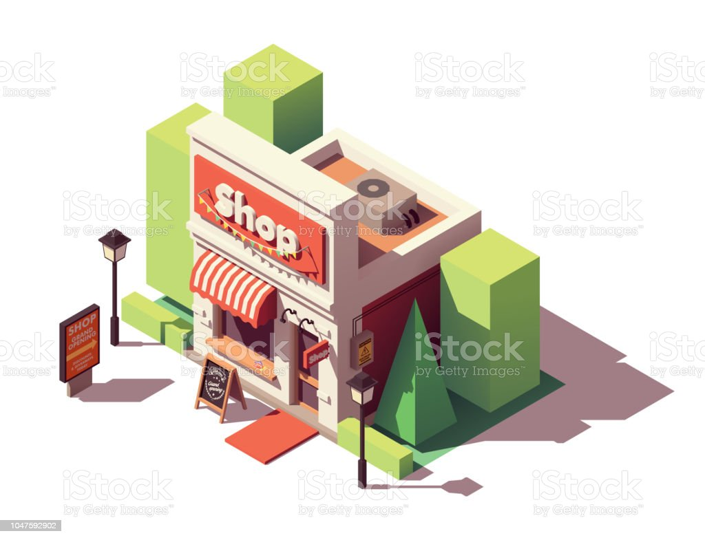 Vector isometric shop opening icon - Векторная графика Архитектура роялти-фри