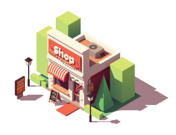vector isometric shop opening icon - small business stock illustrations