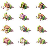 Vector isometric shops and restaurants icon set. Includes kebab restaurant, beer bar, butcher shop, grocery, ice cream shop, bakery, coffee house, seafood, fromagerie and dairy, sweets shop and other
