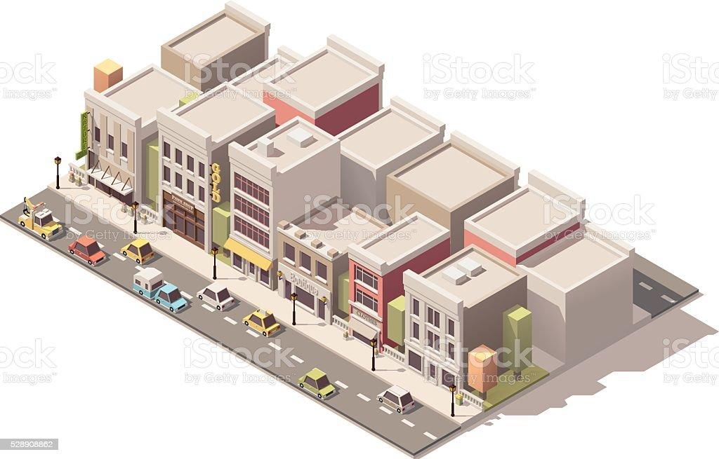 Vector isometric small town street vector art illustration