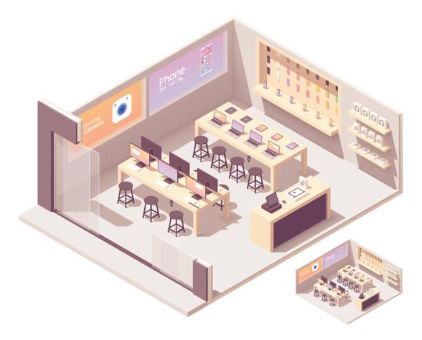 Vector isometric smartphones and computer store vector art illustration