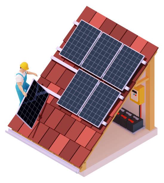 vektorisometrische solarpanel-installation - solaranlage stock-grafiken, -clipart, -cartoons und -symbole