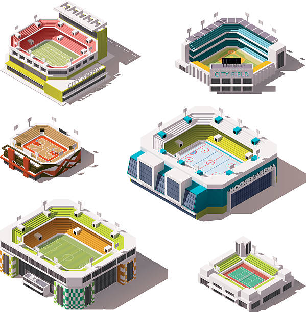 Vector isometric stadiums set Set of the different isometric arenas stadium stock illustrations