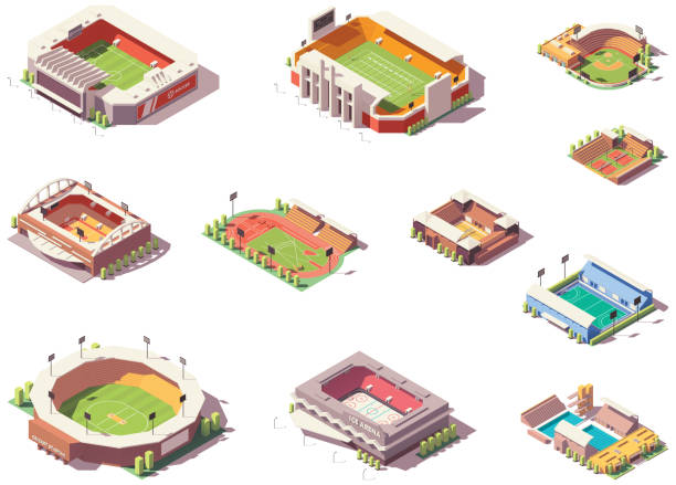 stockillustraties, clipart, cartoons en iconen met vector isometrische stadions set - stadion