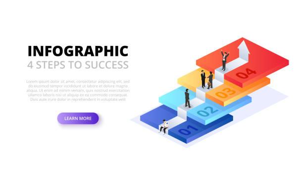 ベクトルの人々 と等尺性階段は、インフォ グラフィックを起動します。成長コンセプト - ステップ点のイラスト素材/クリップアート素材/マンガ素材/アイコン素材