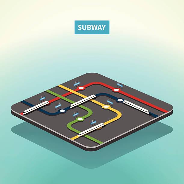 illustrazioni stock, clip art, cartoni animati e icone di tendenza di mappa della metropolitana di vettore isometrica concetto - subway