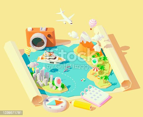 istock Vector isometric summer travel and vacation 1239571781