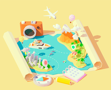 Vector isometric summer travel and vacation