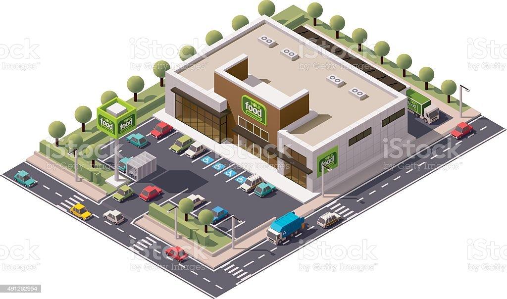 Vector isometric supermarket