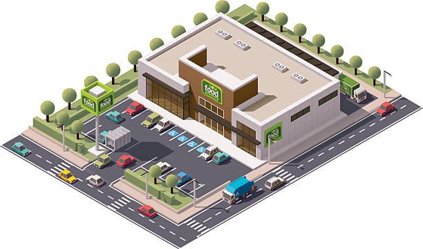 ilustrações, clipart, desenhos animados e ícones de vetor isometric supermercado - shopping