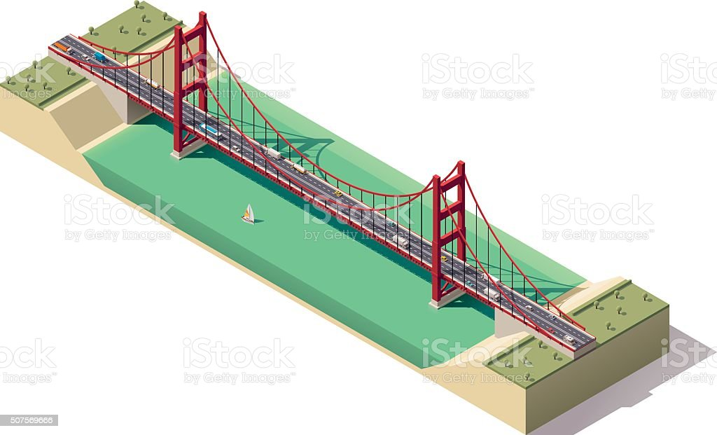 Vector isometric suspension bridge vector art illustration
